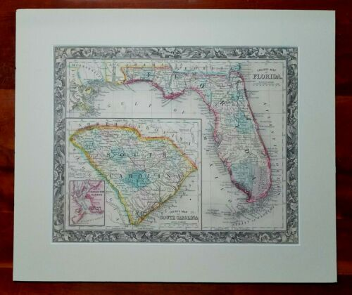 Antique 1861 Mitchell ~ County Map of Florida & South Carolina ~ Matted Unframed