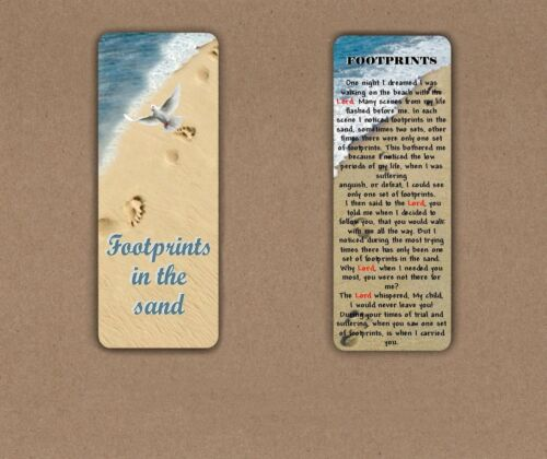 BOOKMARK FOOTPRINTS IN THE SAND INSPIRATIONAL RELIGIOUS LARGE LAMINATED