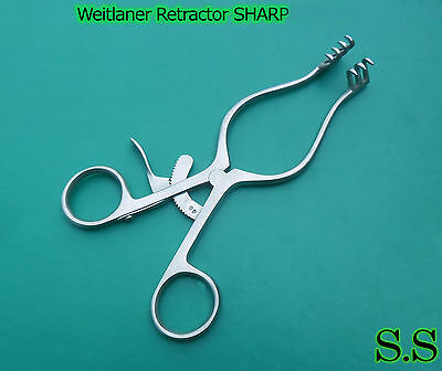1 Piece Of Weitlaner Retractor 6.5 3x4 Prong Sharp Surgical Satin
