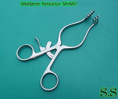 1 Piece Of Weitlaner Retractor 6.5 3x4 Prong Sharp Surgical Satin