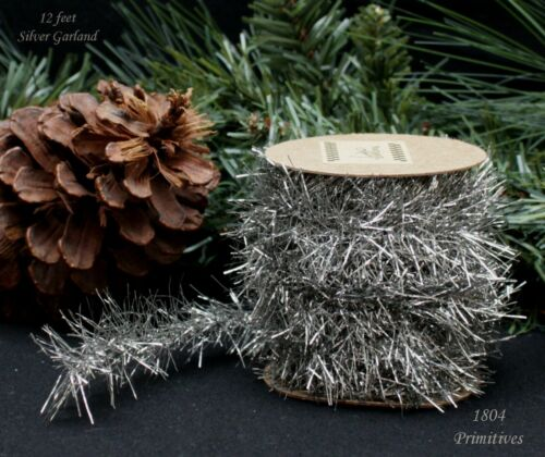 12 ft Silver Tinsel Garland ~ Vintage Style Christmas ~ Feather Trees