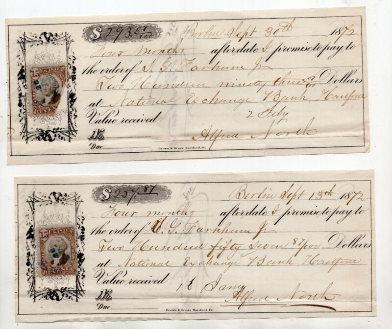2 US revenue stamp paper bank checks CV$50 SC#R139 promise to pay receipt #S2546