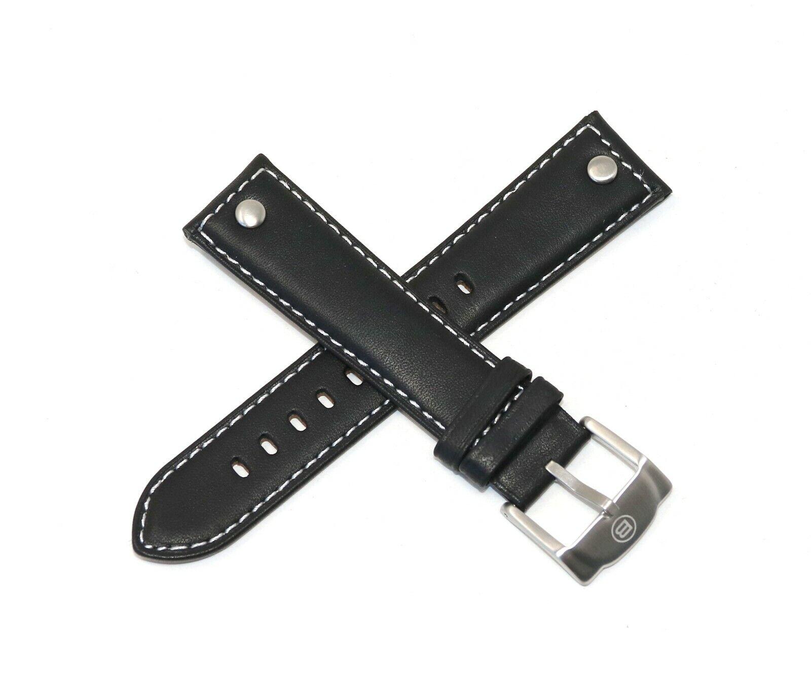 Ben & Sons Lederarmband 22 MM Echtleder Schwarz mit silberner Schließe