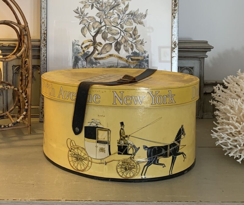 Vintage~ Dobbs Fifth Avenue~ New York~ Hat Box~ Leather Strap with Buckle