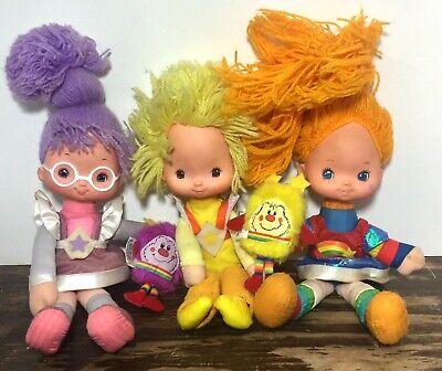 Vintage  1980's Rainbow Brite Shy Violet Canary Yellow W/ Sprite Dolls