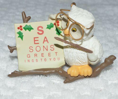 1987 Hallmark Ornament  Owliday Wish Owl with eye chart CUTE