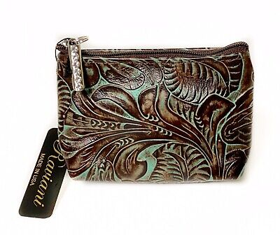 Bag Western Tooled Leather - Raviani Coin Bag Brown & TQ Western Tooled Floral Embossed Leather Made In USA