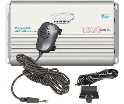 (BOSS MR1200PA 1200 WATT 4 CHANNEL BOAT/MARINE/CAR AMPLIFIER STEREO AMP PA SYSTEM)