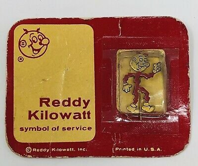 Vintage Reddy Kilowatt Stick Pin On Card Lapel Mr Sparky Early Button Brooch