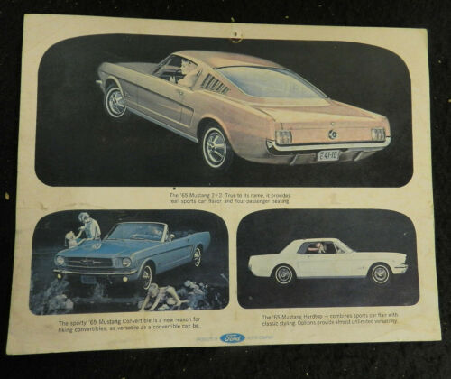 1965 FORD MUSTANG SALES BROCHURE CARD