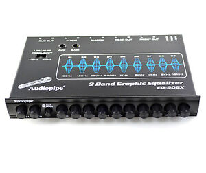 EQ908X Audiopipe 9 Band In Dash Pre Amp Audio Graphic Equalizer For Car Stereos