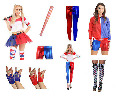 LADIES FANCY DRESS RED AND BLUE SUICIDE SET HARLEY T SHIRT HOT PANTS SQUAD SOCKS - Batman And Batgirl Halloween Costumes