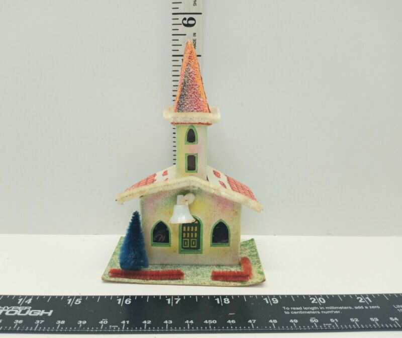 Antique Christmas Village Church Decoration Mica Putz Paper Cardboard Japan Bell
