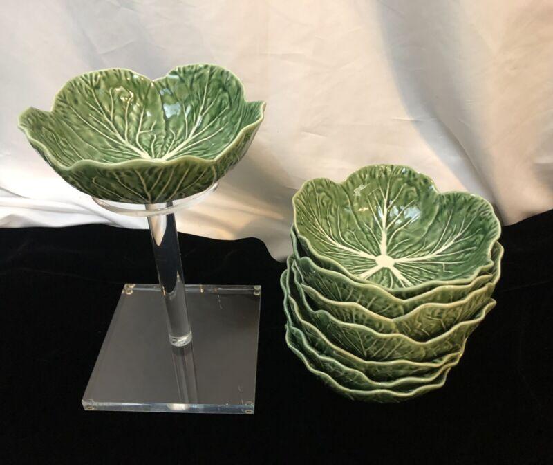 Bordallo Pinheiro Portugal 8Pc Green Cabbage Leaf Soup Salad Bowls
