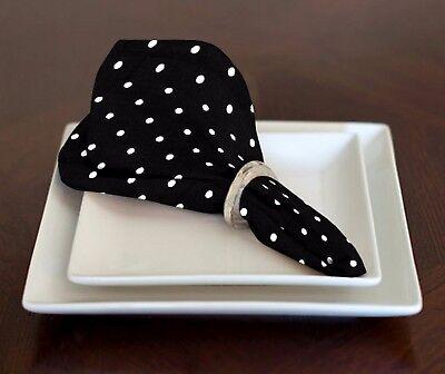 NEW BLACK & WHITE MINI POLKA DOT TABLE NAPKINS LUNCH DINNER SET OF 4 17