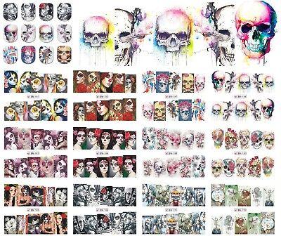 Halloween Nails Zombie (Nail Art Stickers Decals Transfers Halloween Skulls Zombies)