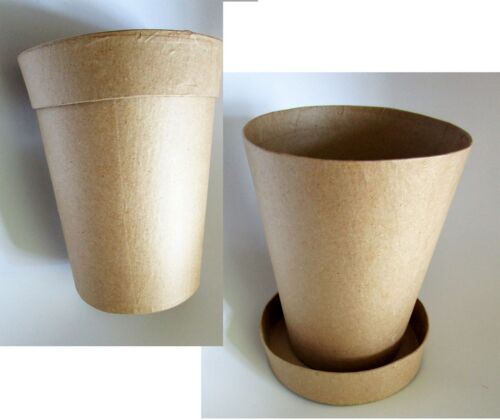 """DDC Paper Mache 6-in """"Clay Type"""" Flower Pot w/Lid for Crafts ~Paint, Decorate"""