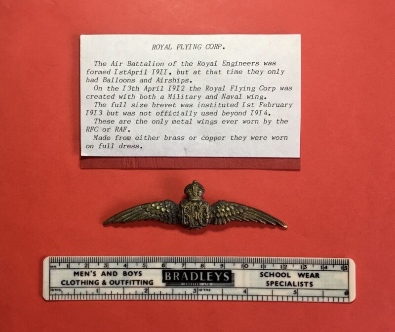 1st WW-ROYAL FLYING CORP -PILOTS FULL DRESS BRASS WINGS-MADE LATER FOR DISPLAY