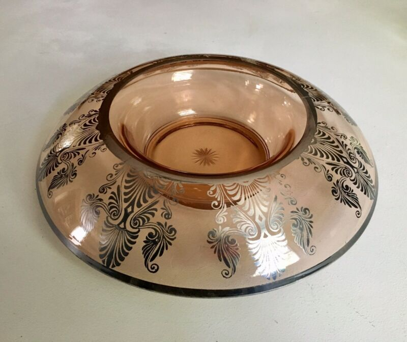 """Antique Art Deco Pink Glass Center Bowl w/ Sterling Silver Overlay 14"""""""