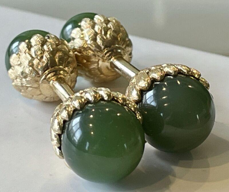 14k Yellow Gold Jade Cuff Links Ball Return Acorn 11.2 Grams