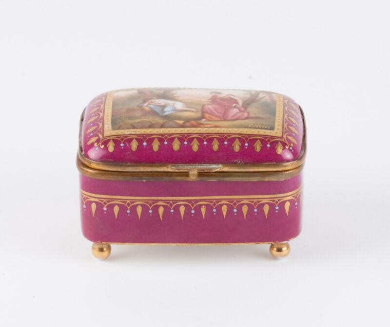 Royal Vienna Porcelain Jewelry Box- Handpainted-  signed C. Heer