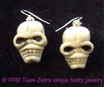 Funky Gothic Severed ZOMBIE SKULL HEAD EARRINGS Emo VooDoo Charm Costume Jewelry