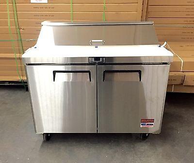 Sandwich Prep Unit 48 Table Salad Refrigerator Prep Cooler 2 Door 12 Pan