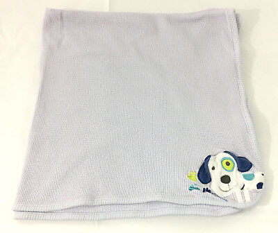 B9 Just Born Blue Puppy Dog Baby Blanket! Crib Nursery Thermal