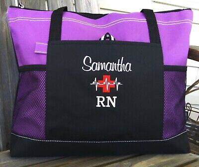 Nurse Tote Bags (Personalized Nursing tote bag nurse RN CNA LPN MD BSN medical cross EKG design)