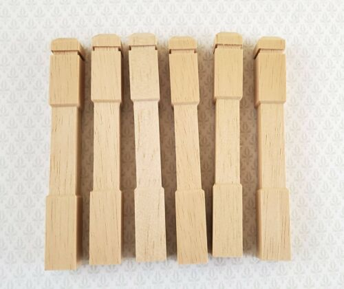 """Dollhouse Miniature Newel Posts Wood 6 Pieces 1:12 Scale 3 1/2"""" Long HW #7209"""