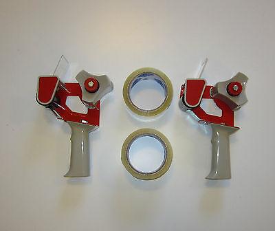 2 New Heavy Duty Handheld Tape Gun Dispensers And 2 Rolls Of 2 Tape
