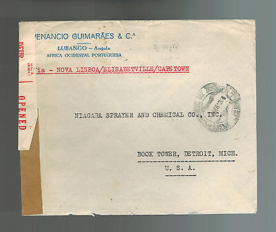 1943 Lubango Angola Censored Cover to USA Great Airmail Stamps