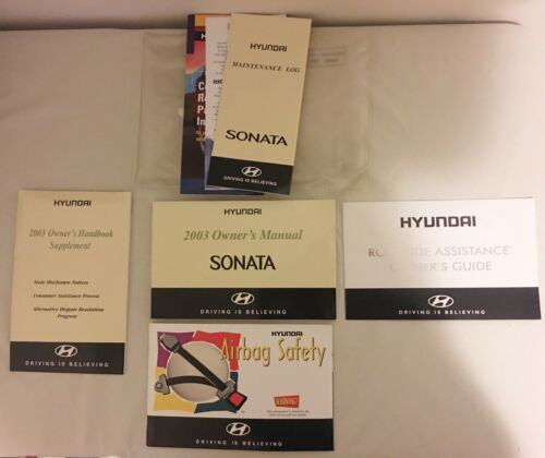 2003 Hyundai Sonata Owner's Manual Book W/ Sleeve Case & Supplements VG