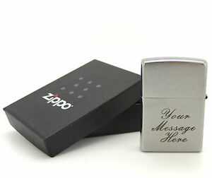 Personalised Engraved Zippo Brushed Chrome (200) Lighter - Contrasting Lettering