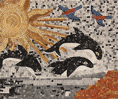 Killer Whale Dolphin Play Bird Wave  Sea Marble Mosaic AN1103