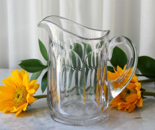 Antique Clear Glass Pitcher Thick Heavy Glass Circa 1900