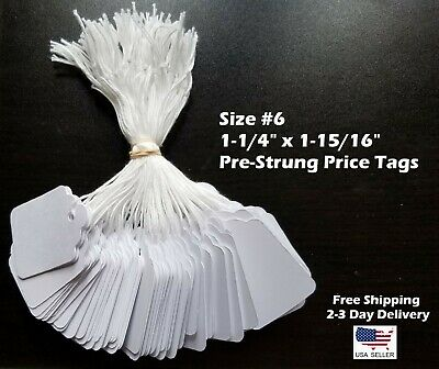 Size 6 Small Blank White Merchandise Price Tags W String Retail Jewelry Strung