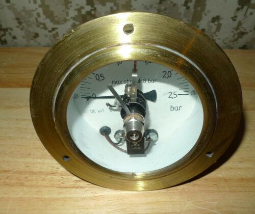 De Wit Brass Pressure Gauge with Limit Switch  Steampunk Industrial