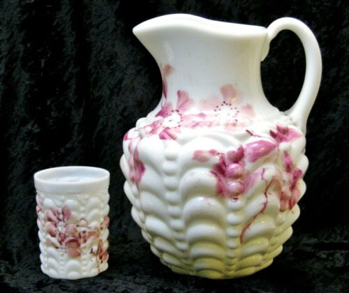 EAPG Milk Glass Guttate Purcha Consolidated Floral Pitcher & Tumbler Cranberry
