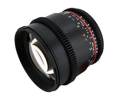Rokinon 85mm T1.5 Cine Lens  w/ De-clicked Aperture For Canon