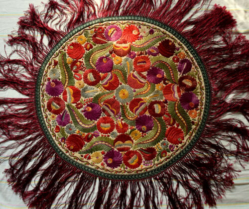 Antique Silk Hand Embroidered Unique Matyo Round  Embroidery Tablecloth  76cm
