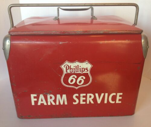 RARE VINTAGE PHILLIPS 66 FARM SERVICE ICE CHEST COOLER COLLECTIBLE - HOME DECOR