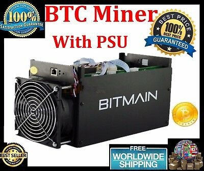 BTC Miner Antminer Machine Asic With Power Supply S5 1150g 28nm Bm1384 Used
