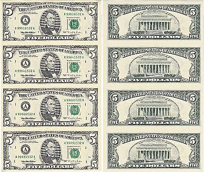 1995  5 Bill 4 Note Uncut Sheet Boston District Original Bep Display Card