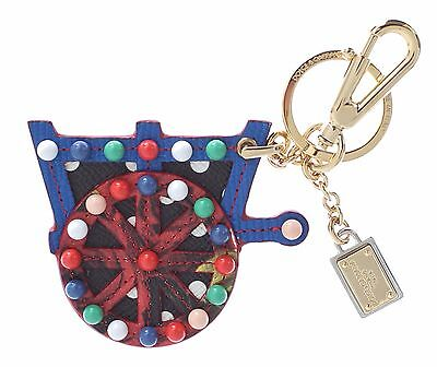 NEW DOLCE & GABBANA Finder Chain Keyring Multicolor Leather Cart Wheel Gold