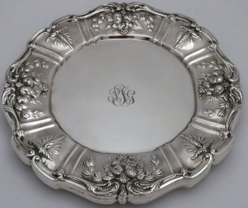 "Reed & Barton Francis 1 Sterling Silver Dinner Plates 10 3/4""w Set of 6"