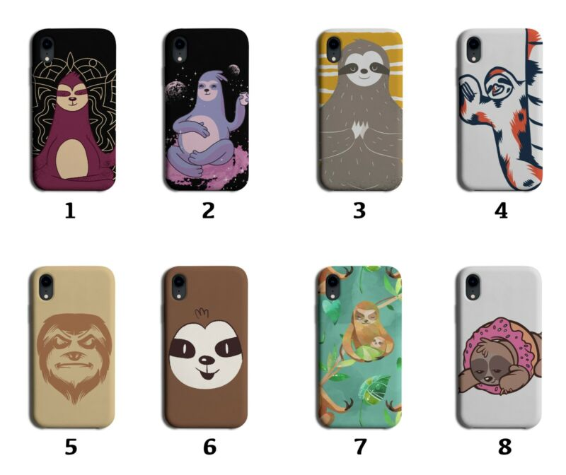 Sloth Phone Case Cover Sloths Face Funny Space Colourful Yoga Sketch Print 8079g