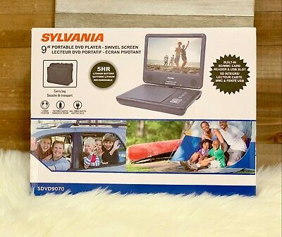 Sylvania 9 inch Swivel Screen Portable DVD CD Player New Free Shipping