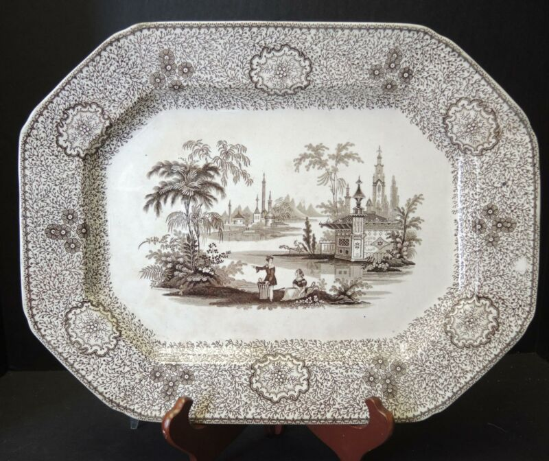 "Antique Ralph Hall & Co Brown Transferware 15 1/2"" Platter - Singanese Pattern"