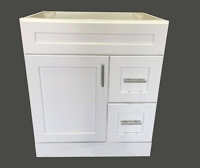 "New White Shaker Single-sink Bathroom Vanity Base Cabinet 30"" Wide x 21"" Deep"